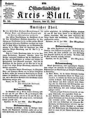 Osthavelländisches Kreisblatt on Jul 15, 1854