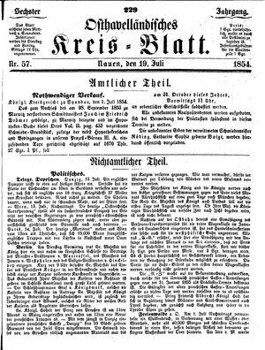 Osthavelländisches Kreisblatt vom 19.07.1854