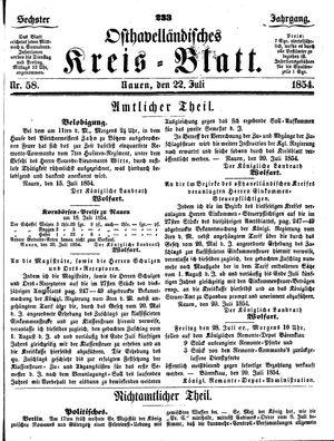 Osthavelländisches Kreisblatt vom 22.07.1854