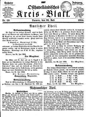 Osthavelländisches Kreisblatt vom 26.07.1854