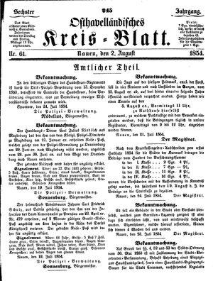 Osthavelländisches Kreisblatt vom 02.08.1854