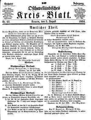 Osthavelländisches Kreisblatt vom 05.08.1854