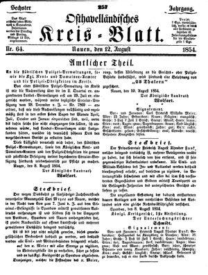 Osthavelländisches Kreisblatt vom 12.08.1854