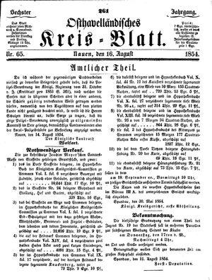Osthavelländisches Kreisblatt on Aug 16, 1854