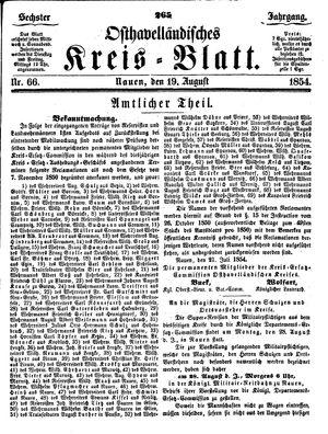 Osthavelländisches Kreisblatt vom 19.08.1854