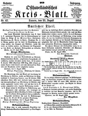 Osthavelländisches Kreisblatt vom 23.08.1854
