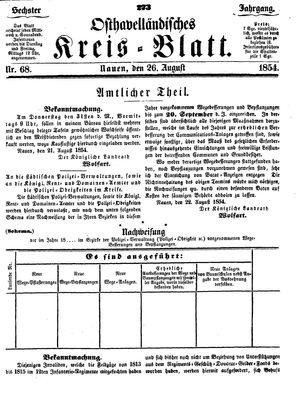 Osthavelländisches Kreisblatt vom 26.08.1854