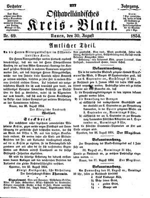 Osthavelländisches Kreisblatt on Aug 30, 1854