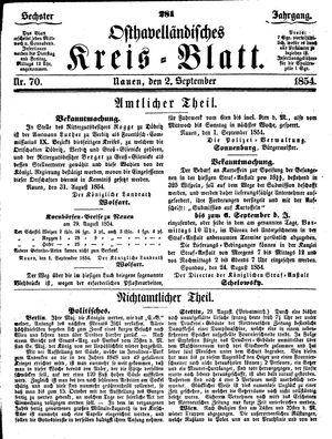 Osthavelländisches Kreisblatt on Sep 2, 1854