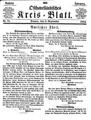Osthavelländisches Kreisblatt vom 06.09.1854