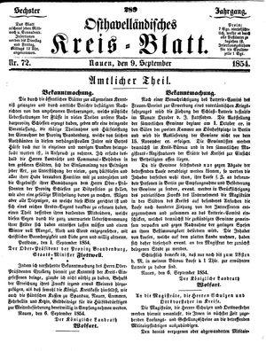 Osthavelländisches Kreisblatt on Sep 9, 1854