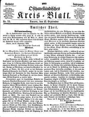 Osthavelländisches Kreisblatt vom 13.09.1854