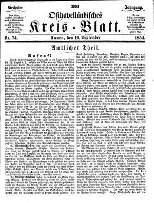Osthavelländisches Kreisblatt vom 16.09.1854