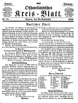 Osthavelländisches Kreisblatt vom 20.09.1854