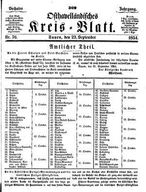 Osthavelländisches Kreisblatt vom 23.09.1854