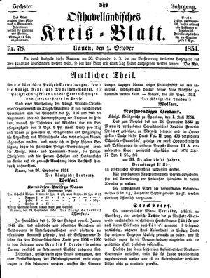 Osthavelländisches Kreisblatt vom 01.10.1854
