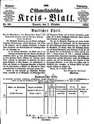 Osthavelländisches Kreisblatt vom 07.10.1854