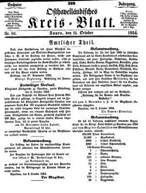 Osthavelländisches Kreisblatt vom 11.10.1854