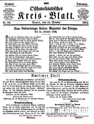 Osthavelländisches Kreisblatt vom 14.10.1854