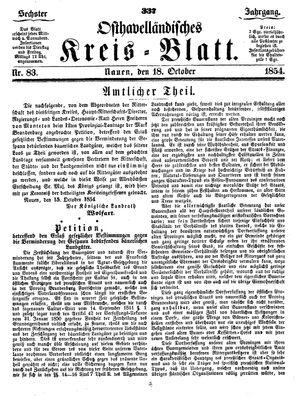 Osthavelländisches Kreisblatt vom 18.10.1854