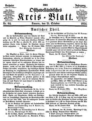 Osthavelländisches Kreisblatt vom 21.10.1854