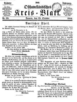 Osthavelländisches Kreisblatt vom 25.10.1854