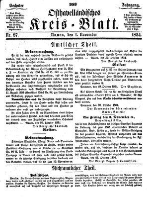 Osthavelländisches Kreisblatt vom 01.11.1854