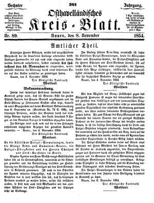 Osthavelländisches Kreisblatt vom 08.11.1854