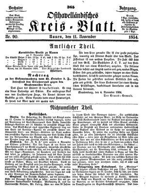 Osthavelländisches Kreisblatt vom 11.11.1854
