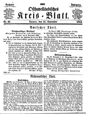 Osthavelländisches Kreisblatt vom 15.11.1854