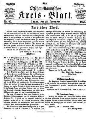 Osthavelländisches Kreisblatt vom 18.11.1854