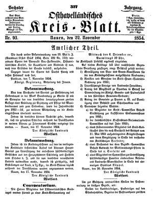 Osthavelländisches Kreisblatt vom 22.11.1854