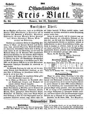 Osthavelländisches Kreisblatt vom 25.11.1854