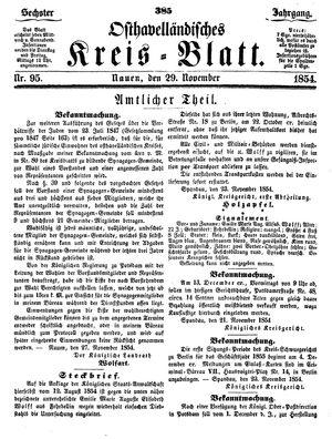 Osthavelländisches Kreisblatt vom 29.11.1854