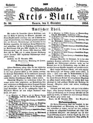 Osthavelländisches Kreisblatt vom 02.12.1854