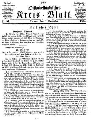 Osthavelländisches Kreisblatt vom 06.12.1854