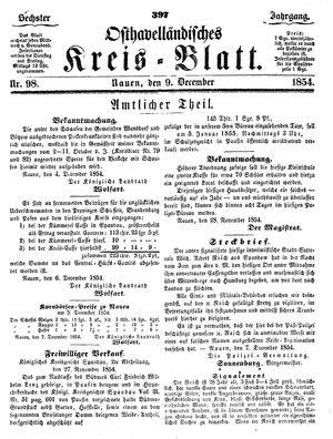 Osthavelländisches Kreisblatt vom 09.12.1854