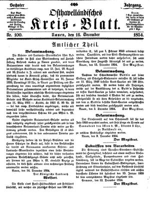 Osthavelländisches Kreisblatt vom 16.12.1854