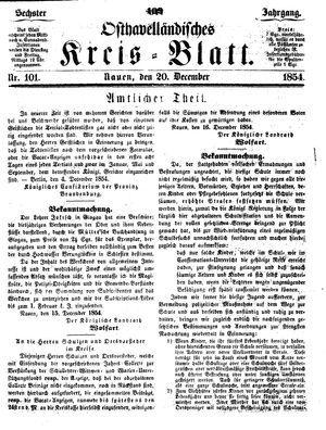 Osthavelländisches Kreisblatt vom 20.12.1854