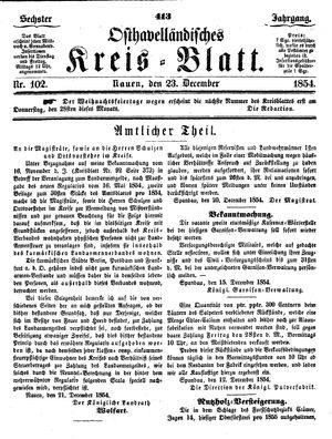 Osthavelländisches Kreisblatt vom 23.12.1854
