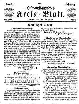 Osthavelländisches Kreisblatt vom 27.12.1854