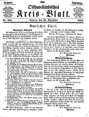 Osthavelländisches Kreisblatt on Dec 30, 1854