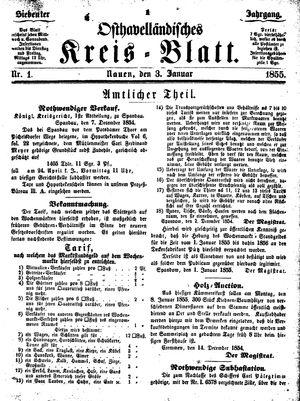 Osthavelländisches Kreisblatt on Jan 3, 1855