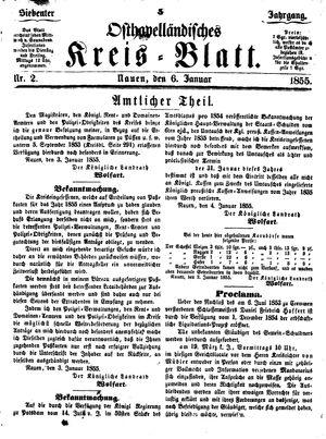 Osthavelländisches Kreisblatt on Jan 6, 1855