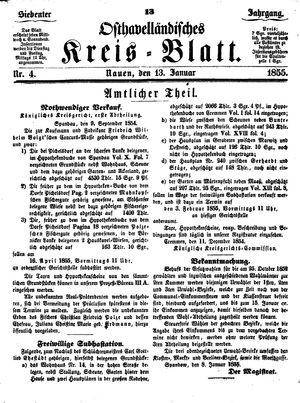 Osthavelländisches Kreisblatt vom 13.01.1855