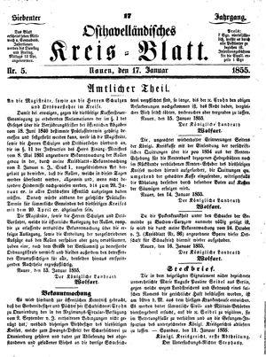 Osthavelländisches Kreisblatt vom 17.01.1855