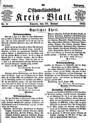 Osthavelländisches Kreisblatt vom 20.01.1855
