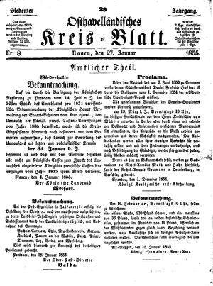 Osthavelländisches Kreisblatt on Jan 27, 1855