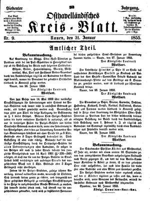 Osthavelländisches Kreisblatt vom 31.01.1855
