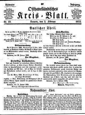Osthavelländisches Kreisblatt vom 03.02.1855